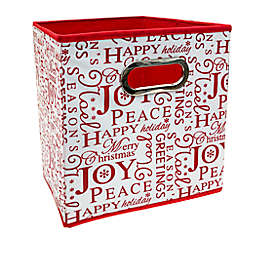 Relaxed Living Peace & Joy 11-Inch Square Collapsible Storage Bin in White/Red