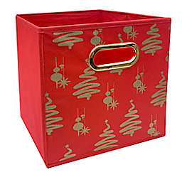 Relaxed Living Merry Christmas 11-Inch Square Collapsible Storage Bin in Red/Gold
