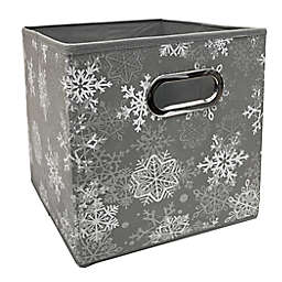 Relaxed Living Serenity Snowfall 11-Inch Square Collapsible Storage Bin in Grey