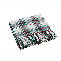 Plaid Chenille Throw Blanket in Green