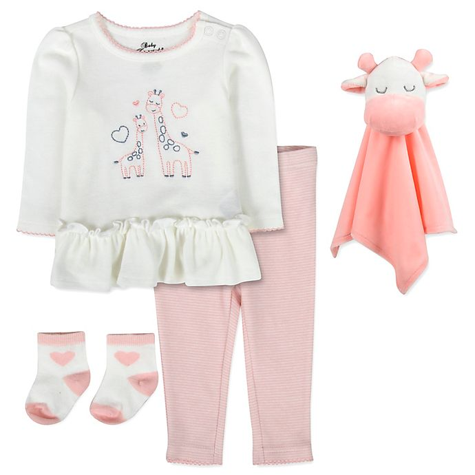 Alternate image 1 for Baby Essentials Size 6M 5-Piece Deer Tunic with Snuggler Set in Pink