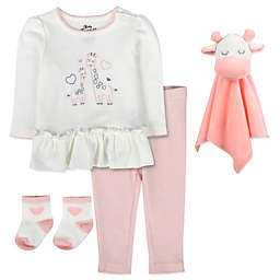 Baby Essentials Size 6M 5-Piece Deer Tunic with Snuggler Set in Pink