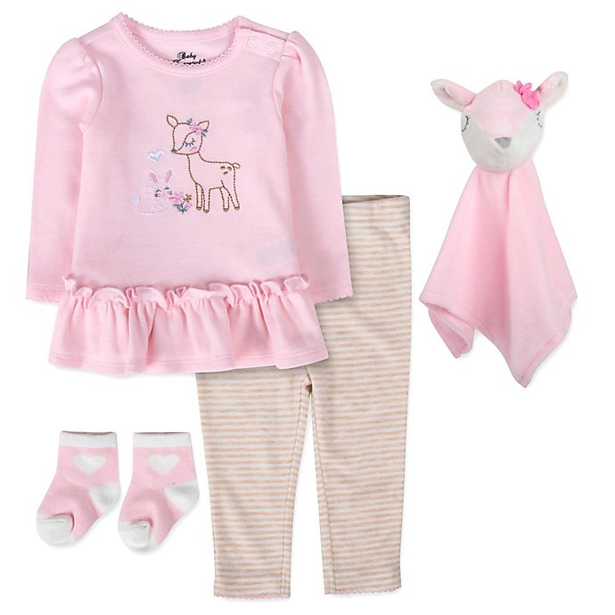 Alternate image 1 for Baby Essentials 5-Piece Deer Tunic with Snuggler Set in Pink
