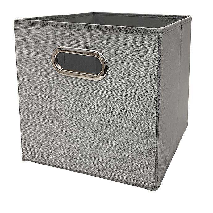 Alternate image 1 for Relaxed Living Texture Grey 11-Inch Square Collapsible Storage Bin