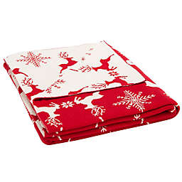 Safavieh Reversible Dancer Reindeer Throw Blanket in Red