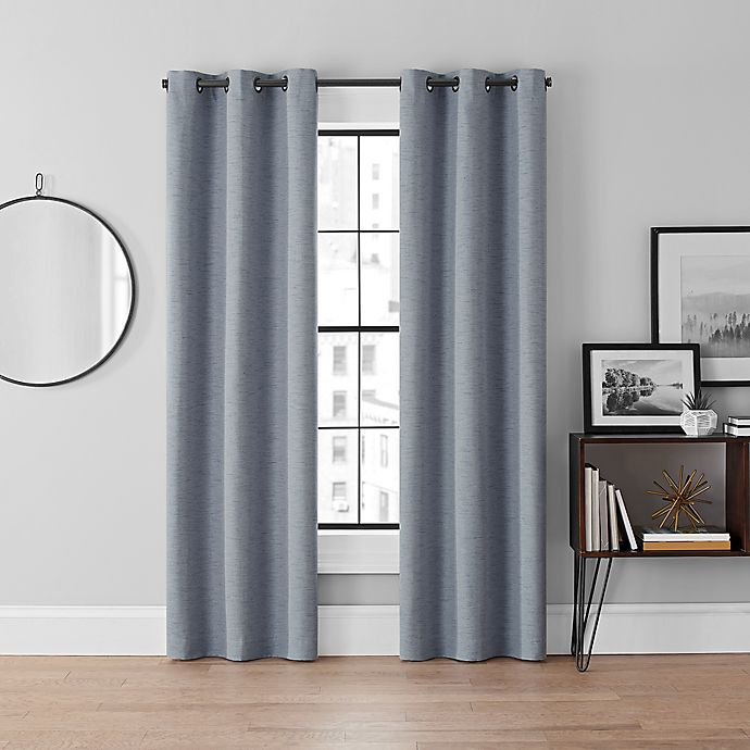 Alternate image 1 for Brookstone® Curtain Fresh™ Dale 2-Pack 95-Inch Grommet Blackout Curtains in Blue