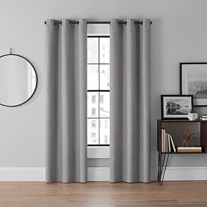 Alternate image 1 for Brookstone® Curtain Fresh™ Dale 108-Inch Grommet Room Darkening Curtains in Grey