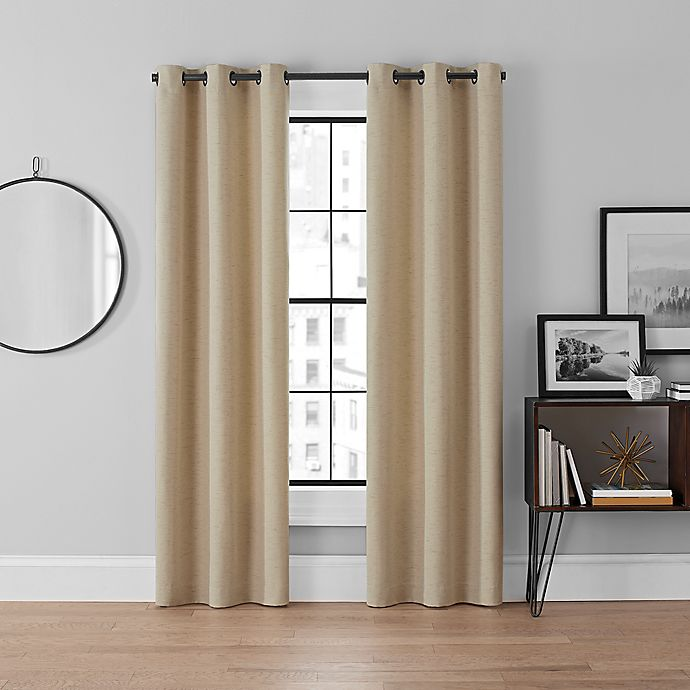 Alternate image 1 for Brookstone® Curtain Fresh™ Dale 2-Pack 95-Inch Grommet Blackout Curtains in Linen