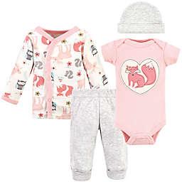 Hudson Baby® Preemie 4-Piece Pink Fox Layette Set