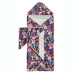 Loulou Lollipop 2-Piece Dark Field Flowers Hooded Towel and Washcloth Set