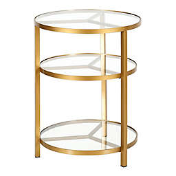Helena Brass Finish Side Table in Gold