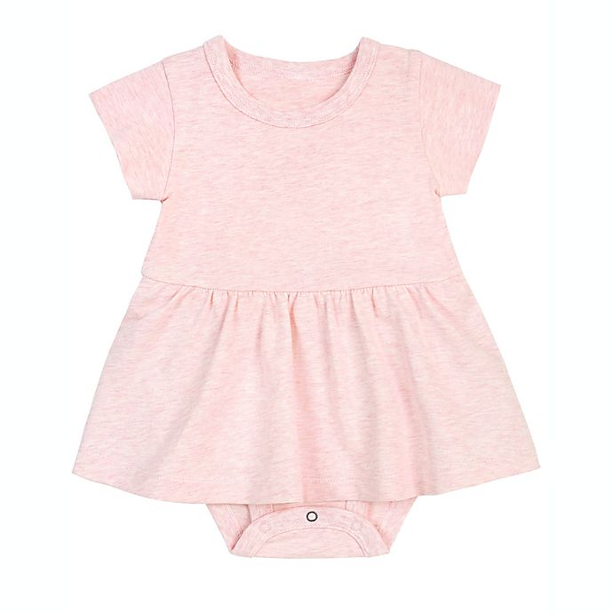 Alternate image 1 for Petit Lem Organic Cotton Peplum Bodysuit Dress in Pink