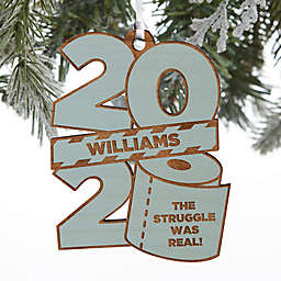 2020 Toilet Paper Roll 3.5-Inch Wood Personalized Christmas Ornament in Blue