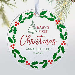 Baby's 1st Christmas Holly Berry 3.5-Inch Glass Christmas Ornament