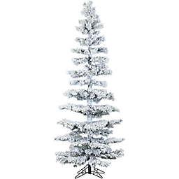 Fraser Hill Farm 7.5-Foot Hillside Slim Flocked Pine Artificial Christmas Tree