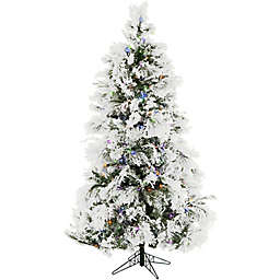 Fraser Hill Farm 6-1/2-Foot Pre-Lit LED Snowy Pine Artificial Christmas Tree