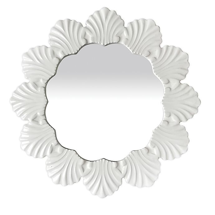 Alternate image 1 for W Home™ Seashell 18-Inch Round Resin Wall Mirror in White