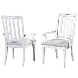 Palmetto Home Sonoma Slat Back Arm Chair in Antique White