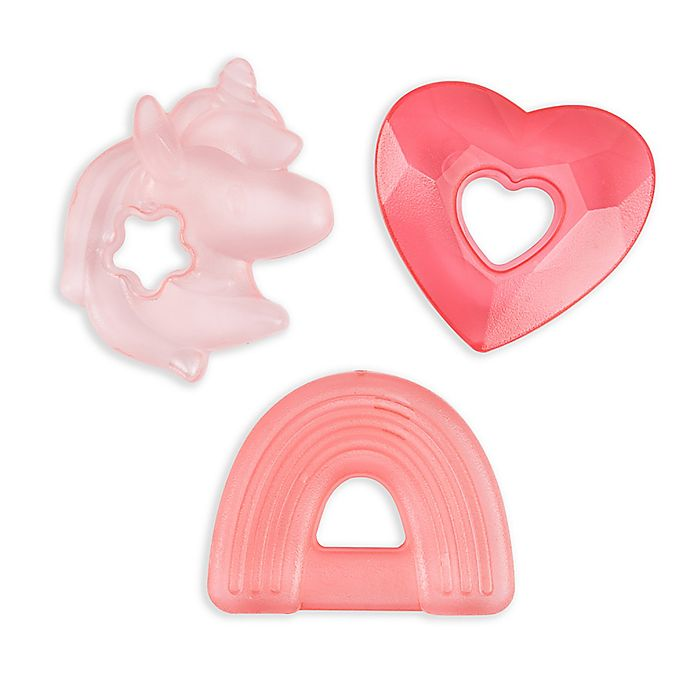 Alternate image 1 for Itzy Ritzy® Unicorn Cutie Cooler™ Teethers in Pink (3-Pack)