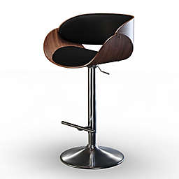 Simpli Home Amery Faux Leather Adjustable Swivel Bar Stool in Black