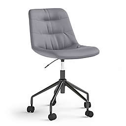 Simpli Home Rowling Swivel Office Chair in Grey