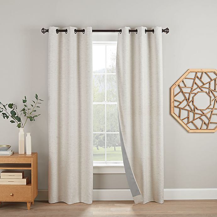 Alternate image 1 for Eclipse Duvall 2-Pack 108-Inch Grommet 100% Blackout Window Curtain Panels in Linen