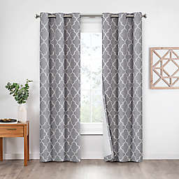 Eclipse Leland Ogee 2-Pack 63-Inch Grommet 100% Blackout Window Curtain Panels in Grey