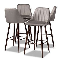 Baxton Studio Clayton Velvet Upholstered Bar Stools in Grey/Walnut (Set of 4)