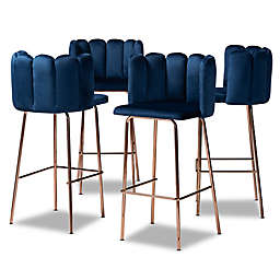 Baxton Studio Chantelle Bar Stools in Navy/Rose Gold (Set of 4)