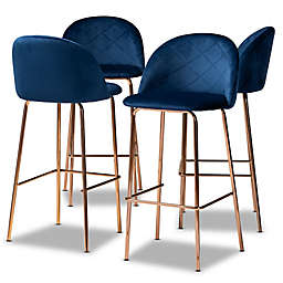 Baxton Studio Josiah Bar Stools in Navy/Rose Gold (Set of 4)