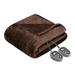 Beautyrest Microlight-to-Berber Reversible Full Heated Blanket in Chocolate