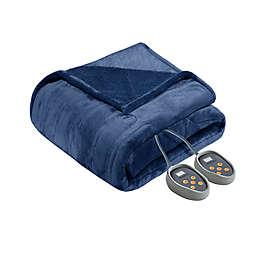 Beautyrest® Heated Microlight-to-Berber Blanket in Indigo