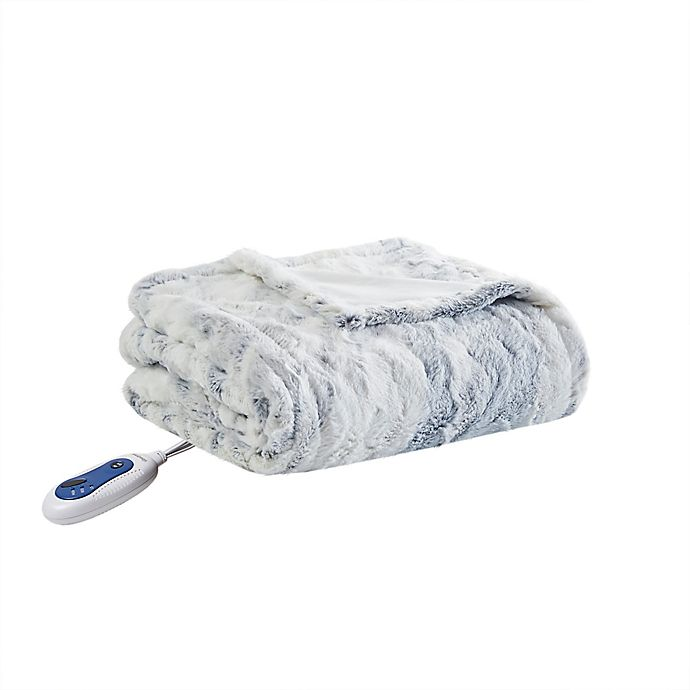 Alternate image 1 for Beautyrest® Zuri Oversized Faux Fur Heated Throw in Grey/Blue