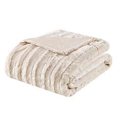 Madison Park Duke Brushed Long Faux Fur Throw Blanket in Champagne