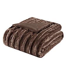 Madison Park Duke Brushed Long Faux Fur Throw Blanket in Chocolate
