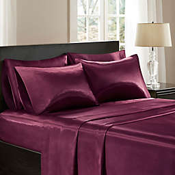Madison Park® Essentials 6-Piece Wrinkle Free Satin Solid Full Sheet Set in Purple