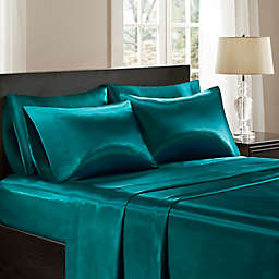 Madison Park Essentials 6-Piece Wrinkle Free Satin Full Sheet Set in Teal