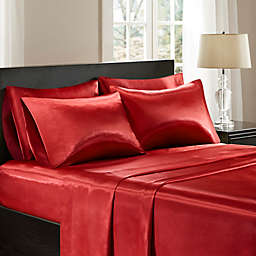 Madison Park Essentials 6-Piece Wrinkle Free Satin King Sheet Set in Red