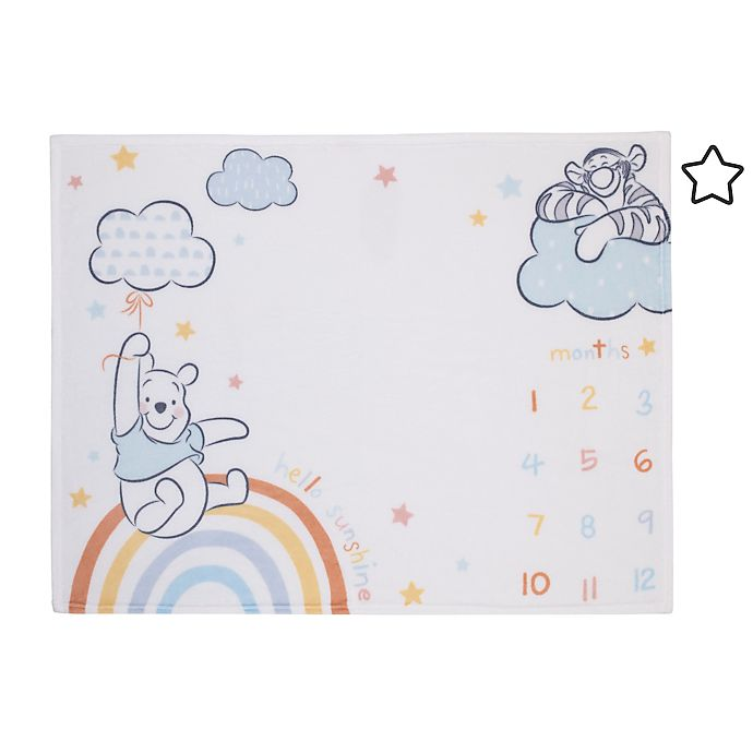 Alternate image 1 for Disney® Winnie The Pooh Milestone Baby Blanket in Light Blue