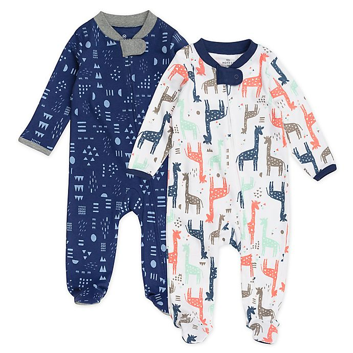 Alternate image 1 for Honest Baby® 2-Pack Giraffe Organic Cotton Sleep & Play Footies in Navy