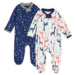 Honest Baby® 2-Pack Giraffe Organic Cotton Sleep & Play Footies in Navy