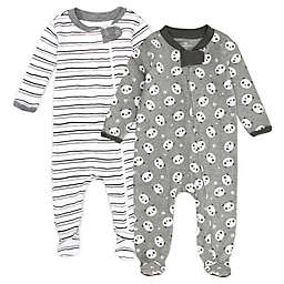 Honest Baby® 2-Pack Panda/Stripe Organic Cotton Footies in Black/White