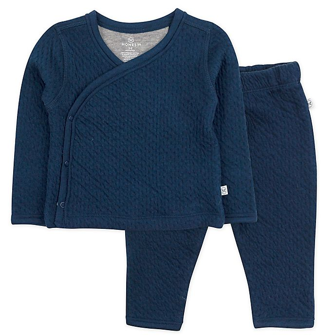 Alternate image 1 for Honest Baby® 2-Piece Quilted Organic Cotton Kimono Top and Pant Set in Blue