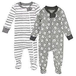 The Honest Company® 2-Pack Panda/Stripe Organic Cotton Footie Pajamas in Black/White
