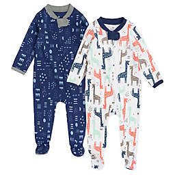 The Honest Company® 2-Pack Giraffe Organic Cotton Footed Pajamas in Navy