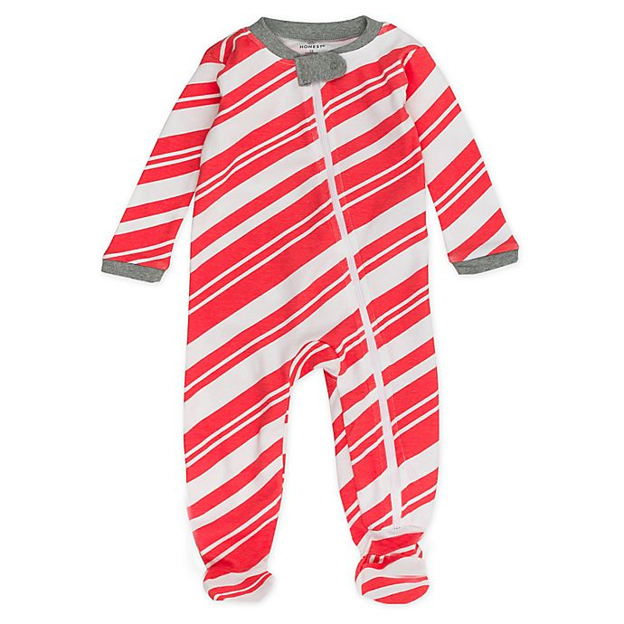 Alternate image 1 for Honest Baby® Preemie Candy Kane Organic Cotton Sleep & Play Footie in Red/White
