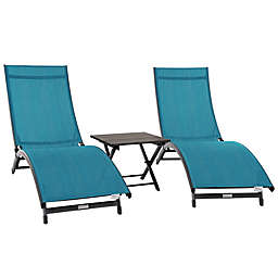 Vivere Coral Springs 3-Piece Lounger Set in Turquoise