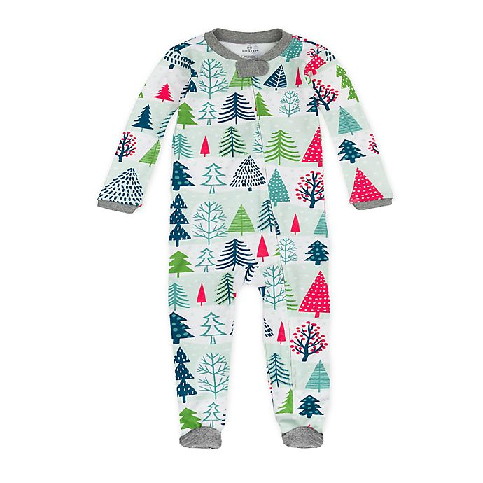 Alternate image 1 for The Honest Company® Snowy Prints Organic Cotton Sleep & Play in Green/Red
