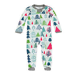 The Honest Company® Preemie Snowy Prints Organic Cotton Sleep & Play in Green/Red