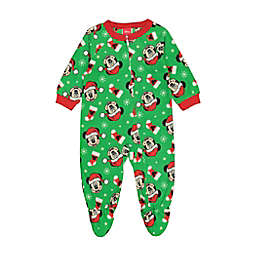 Disney® Size 12M Holiday Joy Mickey Mouse Footed Pajama in Green